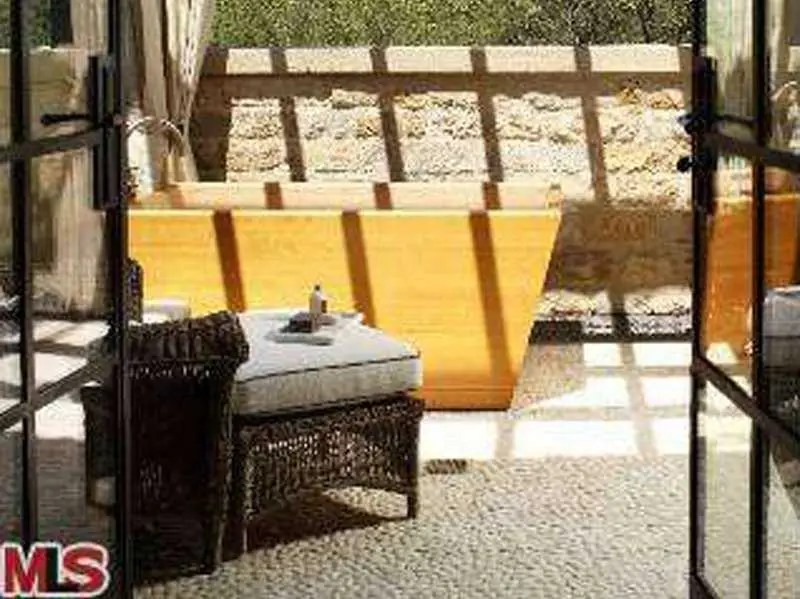 An outdoor bathtub.