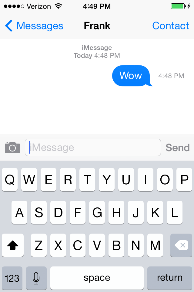 You can swipe to the left to view time stamps of texts, too.