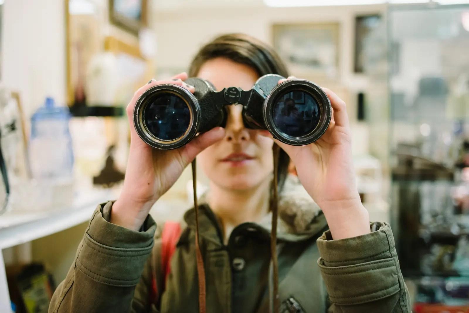 girl with binoculars