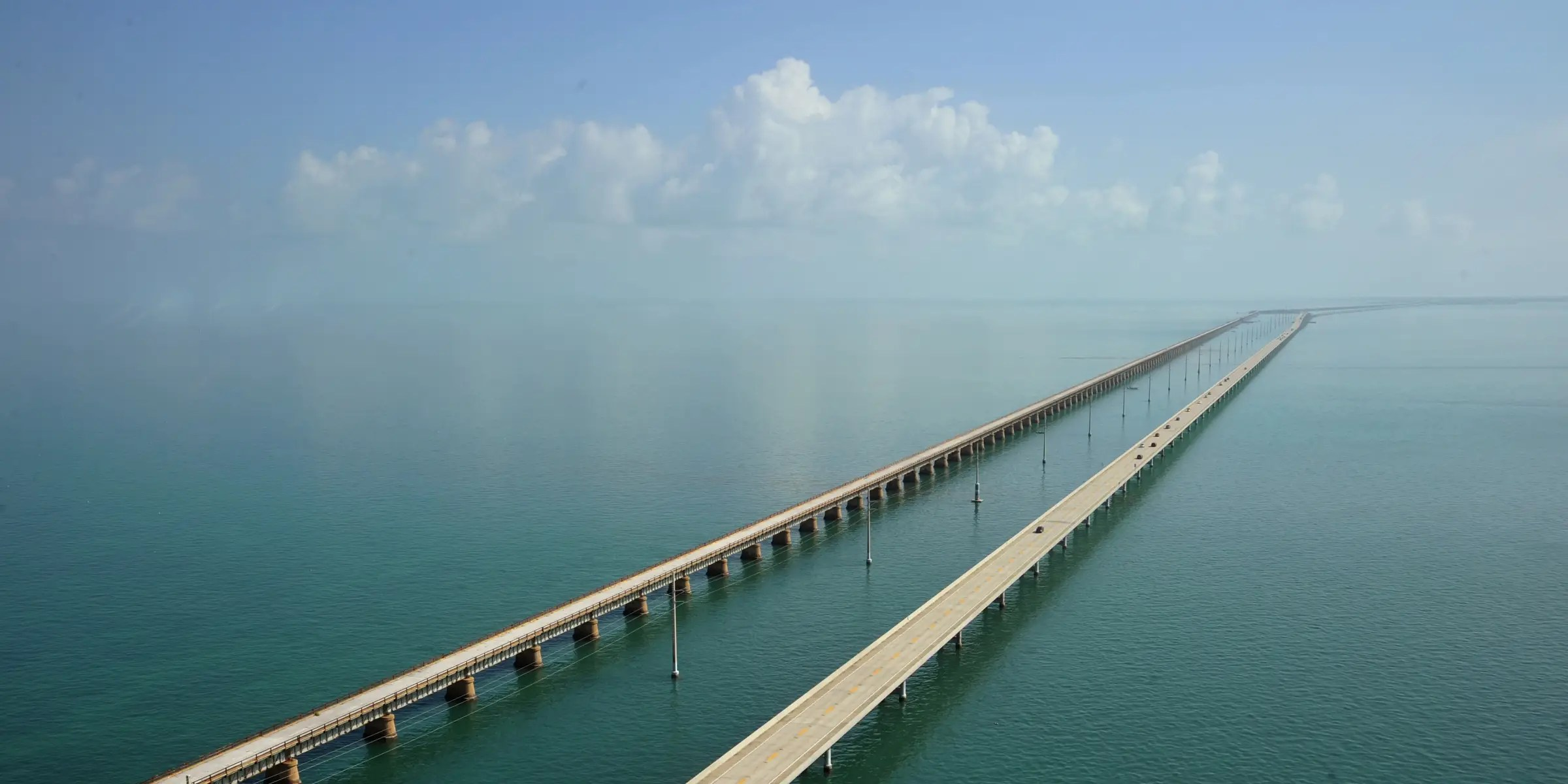 The Overseas Highway in Florida connects mainland Florida to the Florida Keys and consists of 42 overseas bridges across 113 miles. You'll feel like you're driving on the surface of the ocean. Try to catch a sunrise or a sunset, as the sun casts a beautiful reflection on the water.