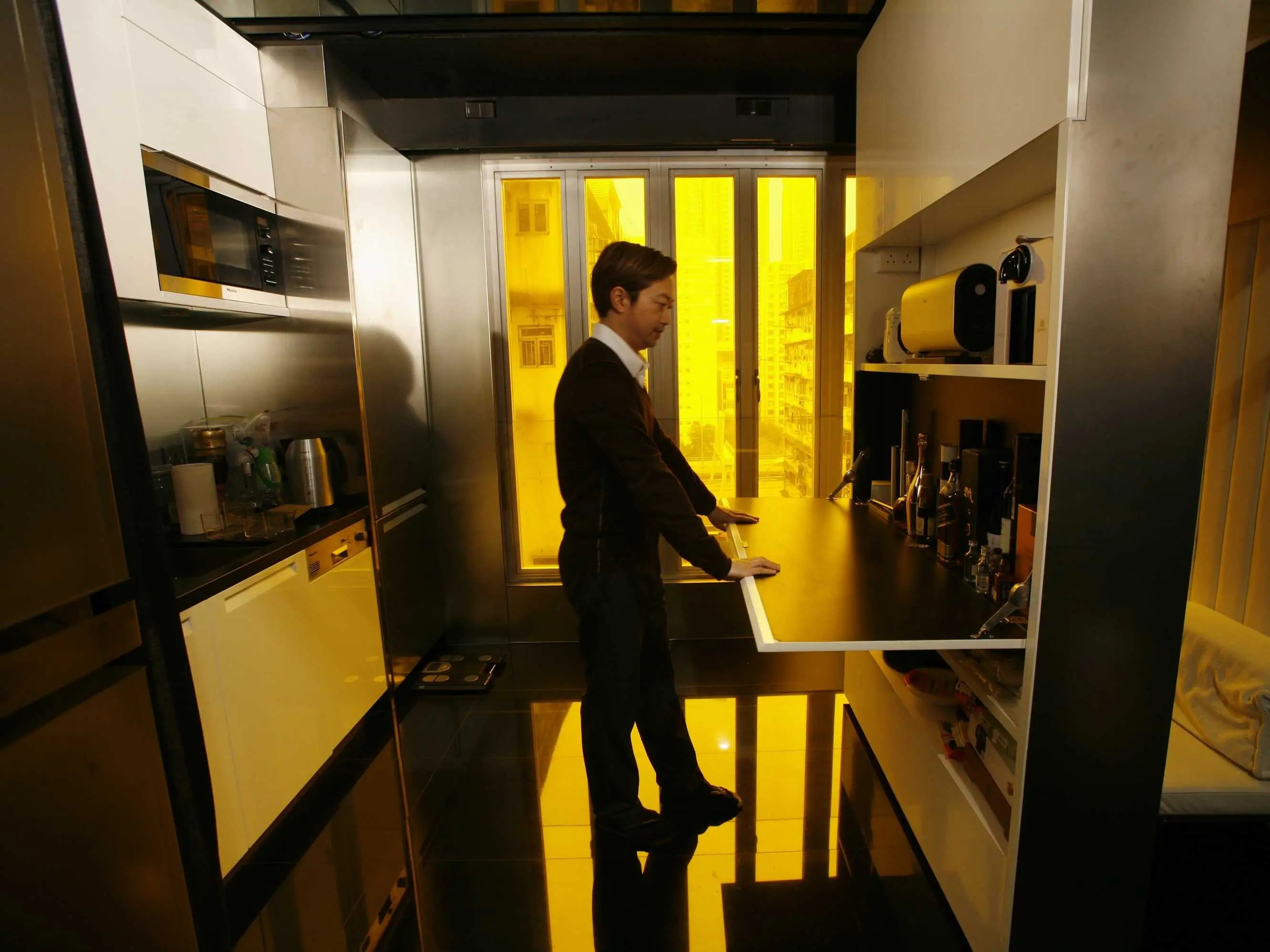This 330 square-foot apartment in Hong Kong transforms into 24 different room combinations.