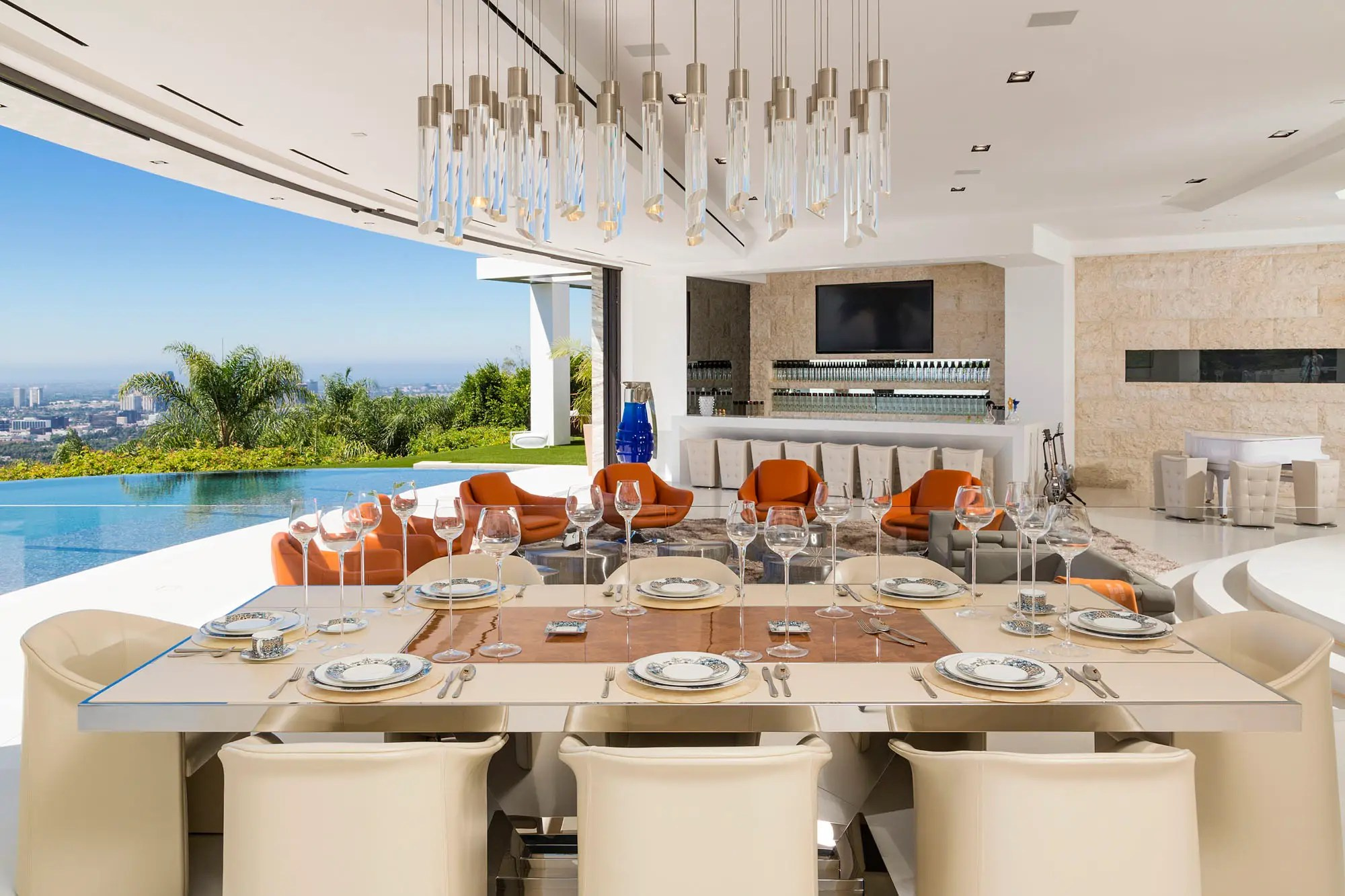 The dining room can easily fit eight guests. The home was designed for entertaining.