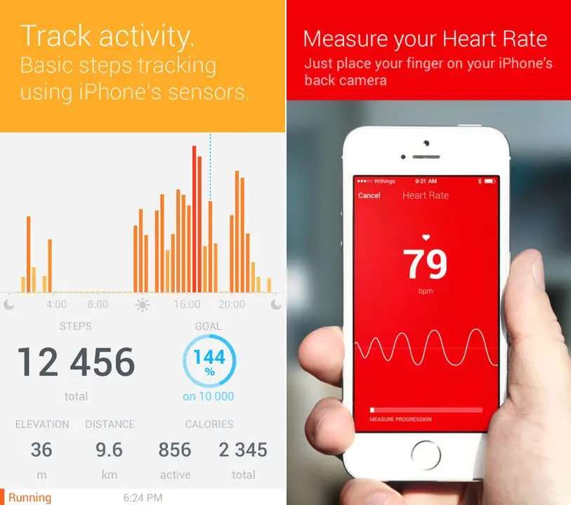 Health Mate uses your iPhone's sensors to track your activity and heart rate.