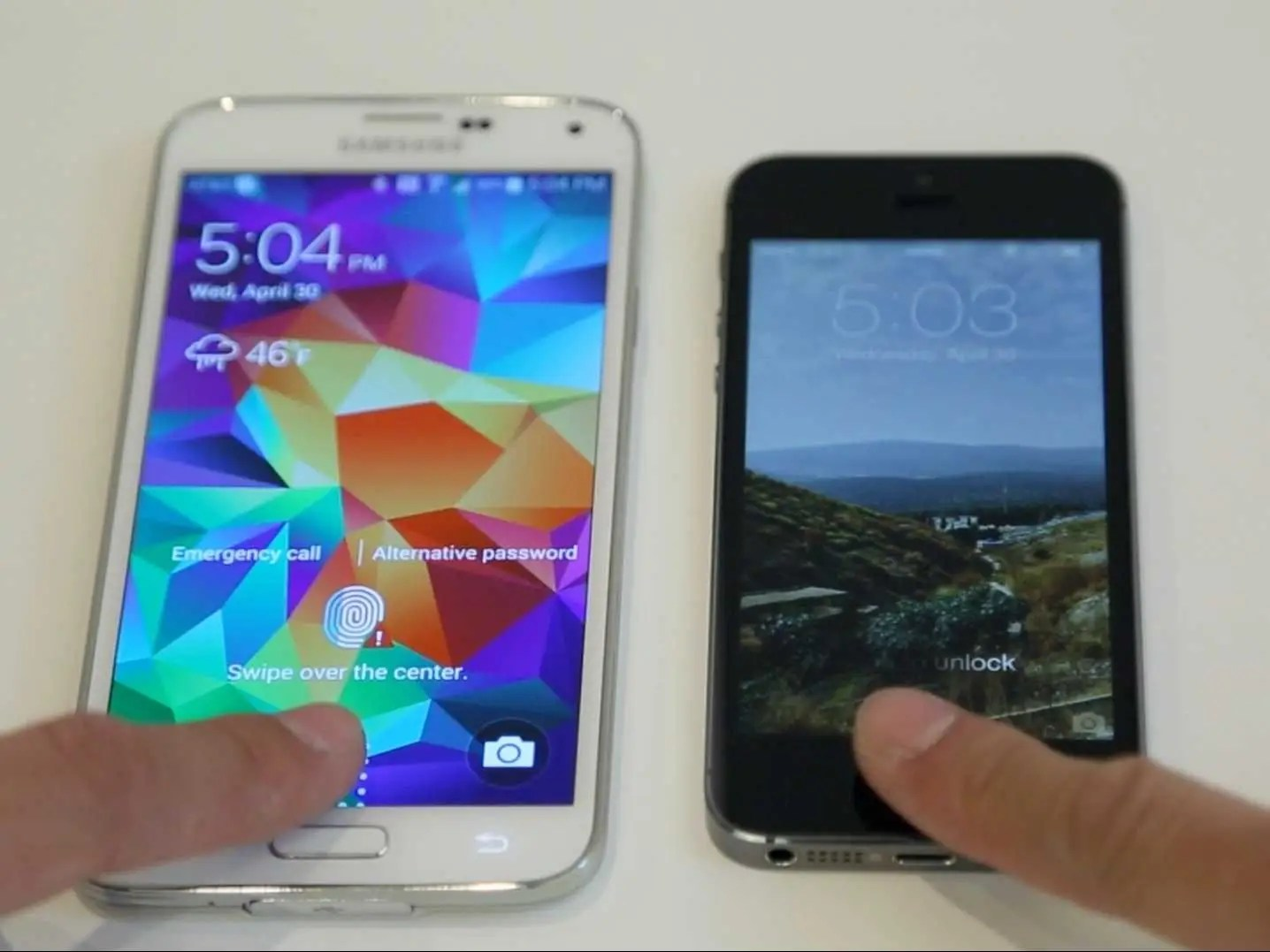 Samsung Galaxy S5 iPhone 5S Fingerprint Side by side