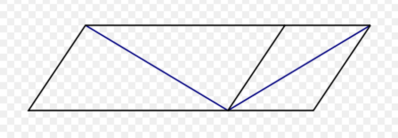 The Sander illusion: The diagonal line on the left of the figure appears to be much longer than the diagonal line on the right, but they are actually the same length.