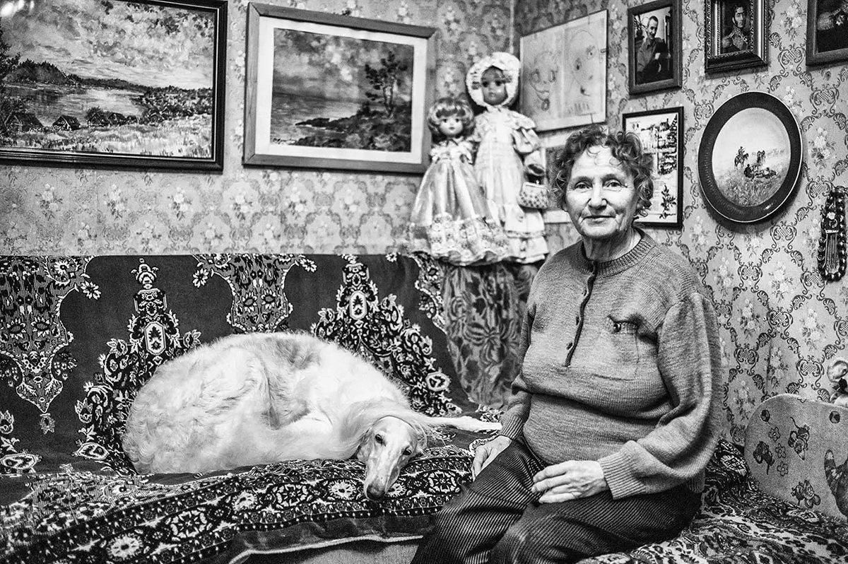 "Ludmila, age 75. Profession: Art historian. Passion or Dream: ""My whole professional life, I was involved in restoring art work and I've been breeding and taking care of Greyhounds for 50 years."""