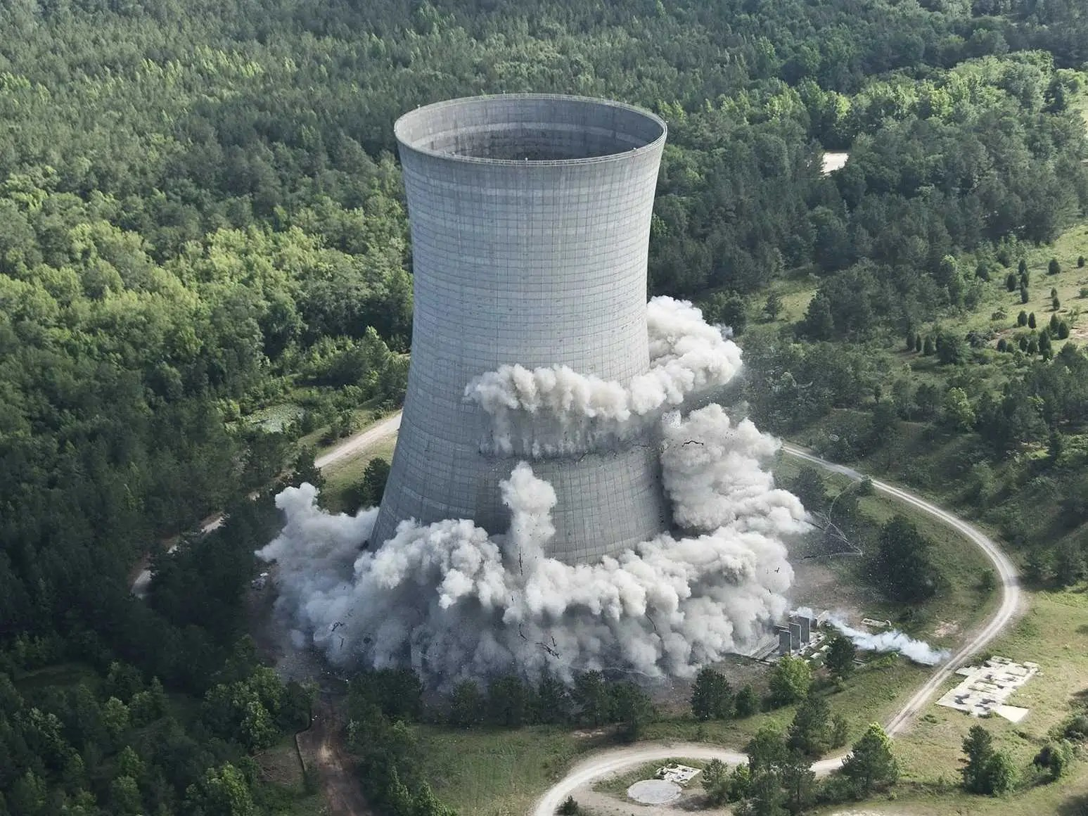 exploding cooling tower nucelar plant imploding collapsing controlled demolition