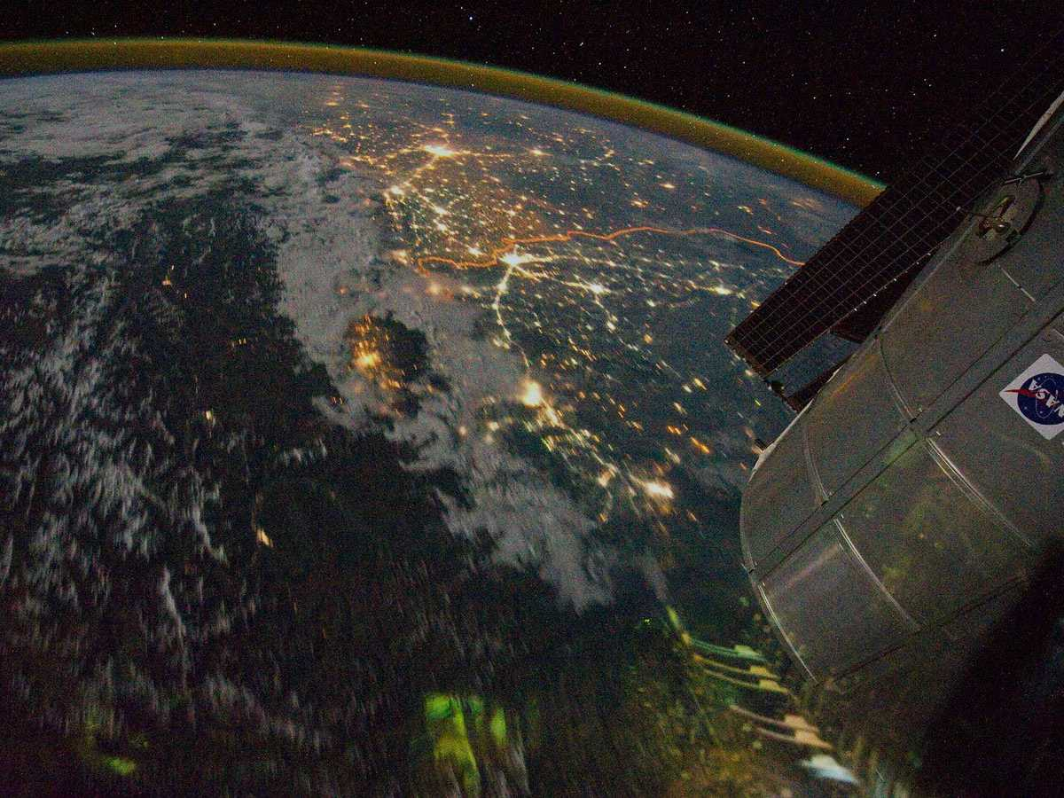 Also taken by the International Space Station, this photograph shows the border between India (which is above the border) and Pakistan (which is south of the border). The border is the bright orange line visible in the photograph, and its illumination comes from the spotlights India placed along it to detect smugglers.