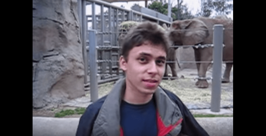 """April 2005: The first video posted to the site, """"Me at the Zoo,"""" is only 19 seconds long. The video is exactly how it sounds: founder Jawed Karim at the San Diego zoo standing in front of the elephants and talking about their trunks."""