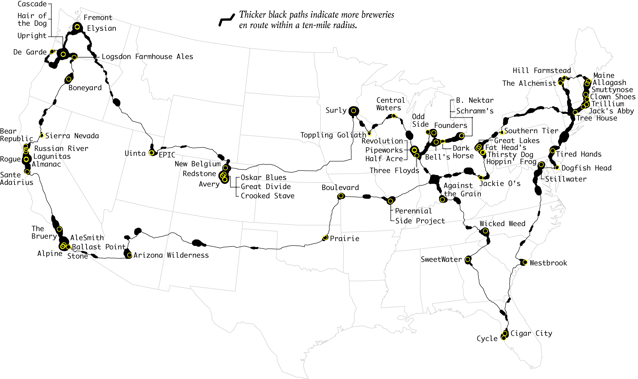 Map Of The Best Craft Breweries In The Us