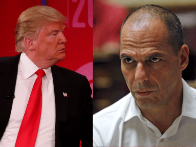 Donald Trump, left, and Yanis Varoufakis.