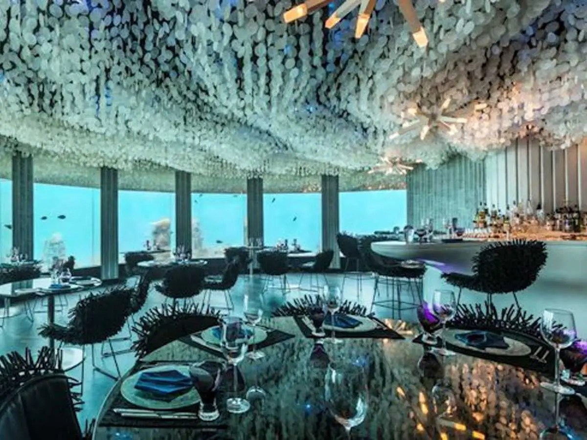 Sip on drinks while getting up-close views of sea life in the Indian Ocean at Subsix, the world's first underwater nightclub, in the Niyama resort of the Dhaalu Atoll, located in the Maldives.