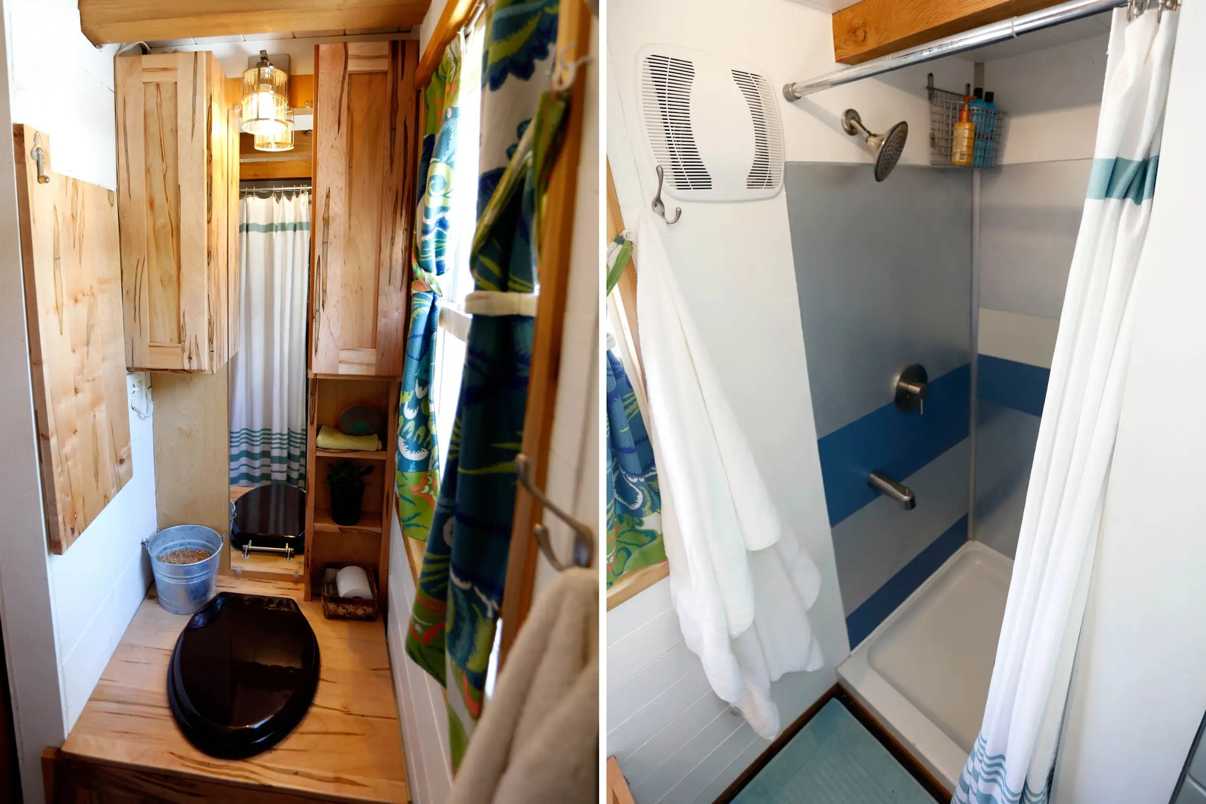 """The couple splurged on space for the shower, as well. It's 34 by 36 inches, larger than most tiny house showers, and includes a tub for """"feet washing."""""""