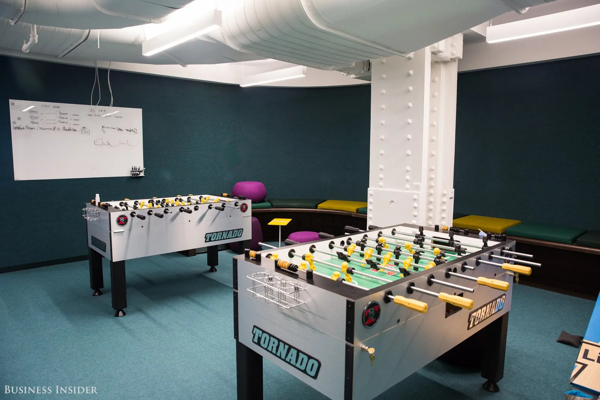 """Throughout the tour, we encountered some other cool perks — like a pool table, foosball tables, and a karaoke machine. Apparently, karaoke battles between LinkedIn offices — fought out over video chats — can get pretty competitive. """"What we really want to do is get people together from different departments and different teams to form relationships,"""" Campofelice says. """"We're really creating a more collaborative environment."""""""