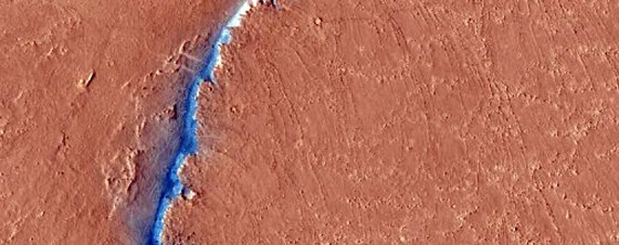 A possible fault line in the Cerberus Fossae region of Mars.