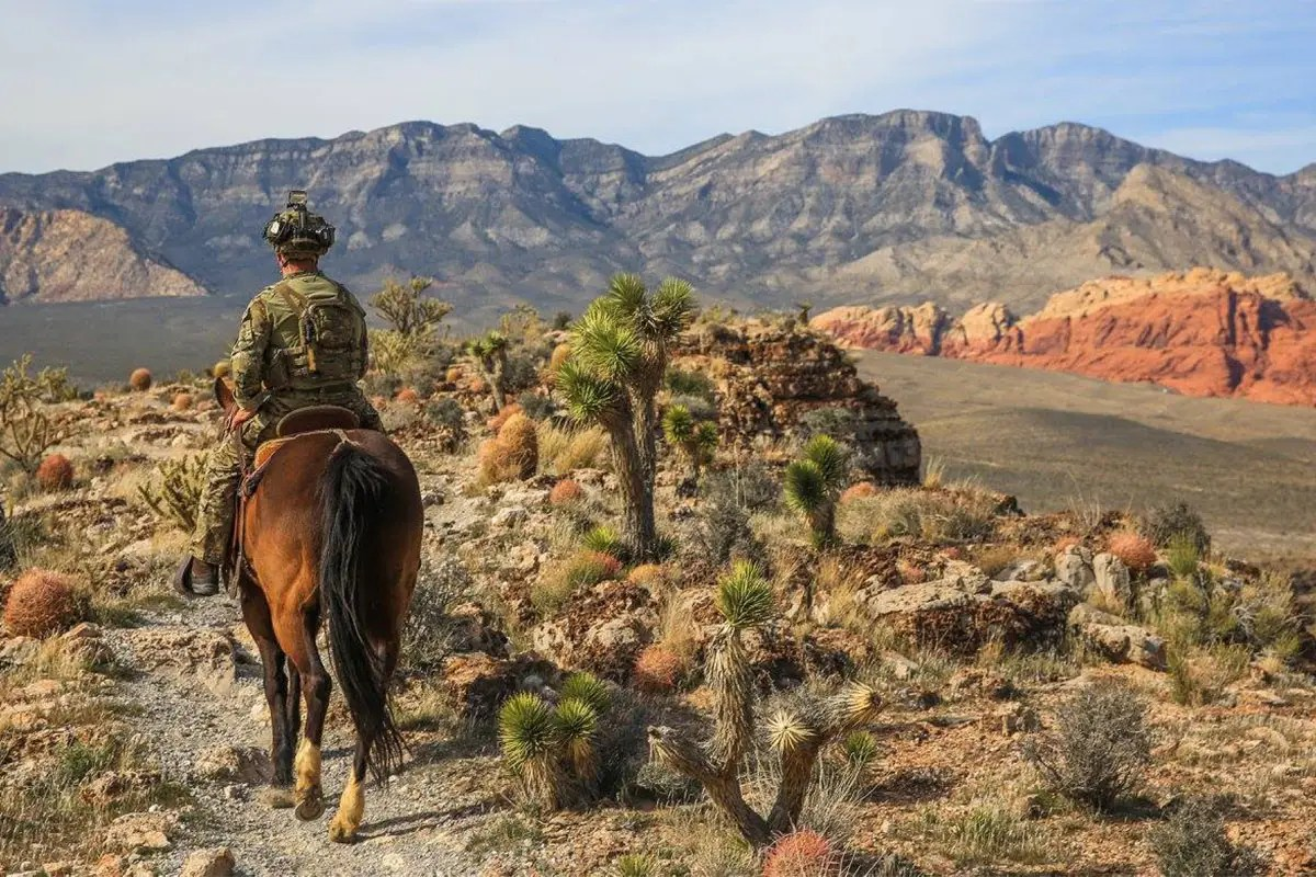 The US Army consists of a huge variety of specialized commands and forces. Here a Green Beret, the Army's special forces component, surveys a vast, beautiful landscape.