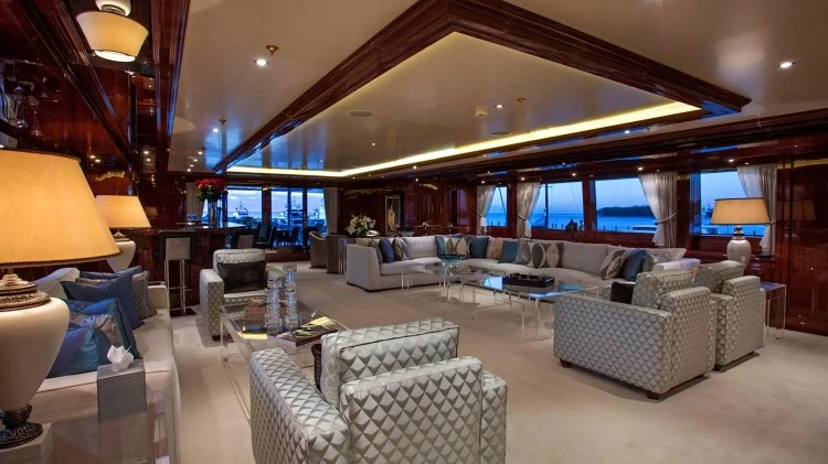 There are nine staterooms, five double rooms, and a master suite. There's also a grand piano and Jacuzzi on board.