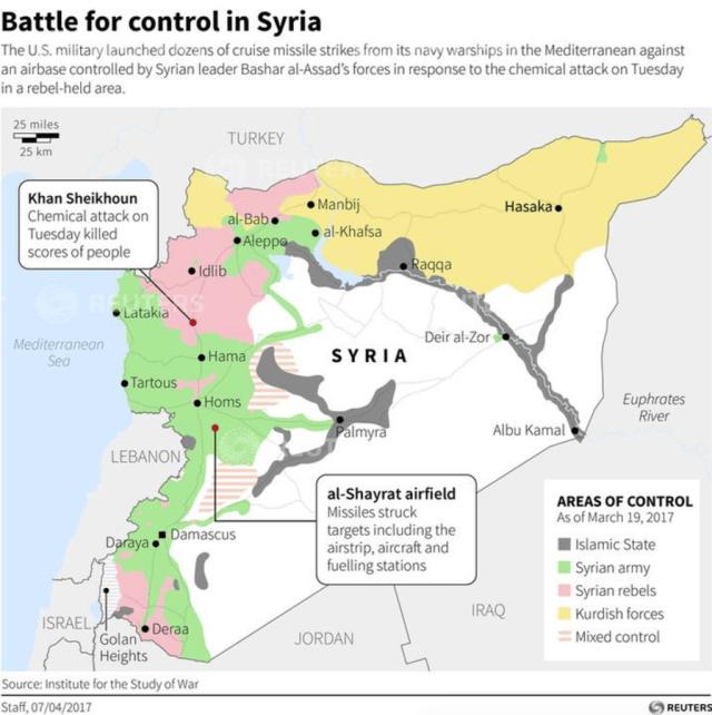 Syria strike map