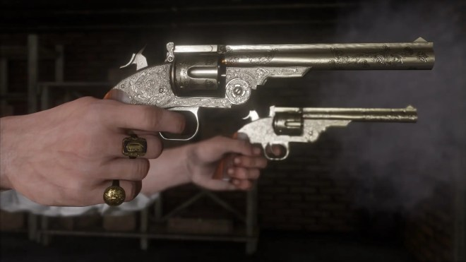 revolvers shotguns and rifles are sure to be standard means of dealing with hostile encounters the level of detail on these pistols is especially impressive - جديد لعبة Red Dead Redemption II 2018