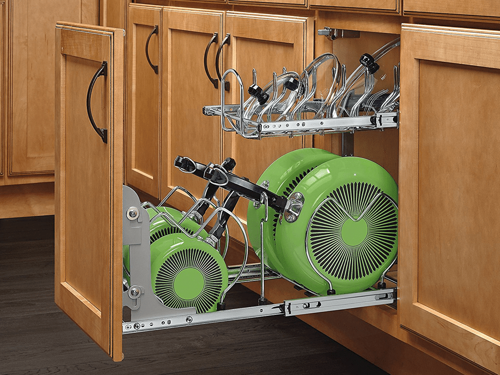 An easy-to-install organizational system for cookware that's perfect for big kitchen cabinets.