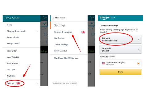 If you're in the UK and want to use Amazon Spark, you'll need to change your country settings to the US.