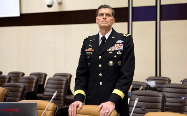 FILE PHOTO - Commander of the U.S. Central Command General Joseph Votel, waits for the start of a round table meeting of NATO defence ministers and the Coalition to Defeat the Islamic State at NATO headquarters in Brussels, Belgium, November 9, 2017. REUTERS/Virginia Mayo/Pool