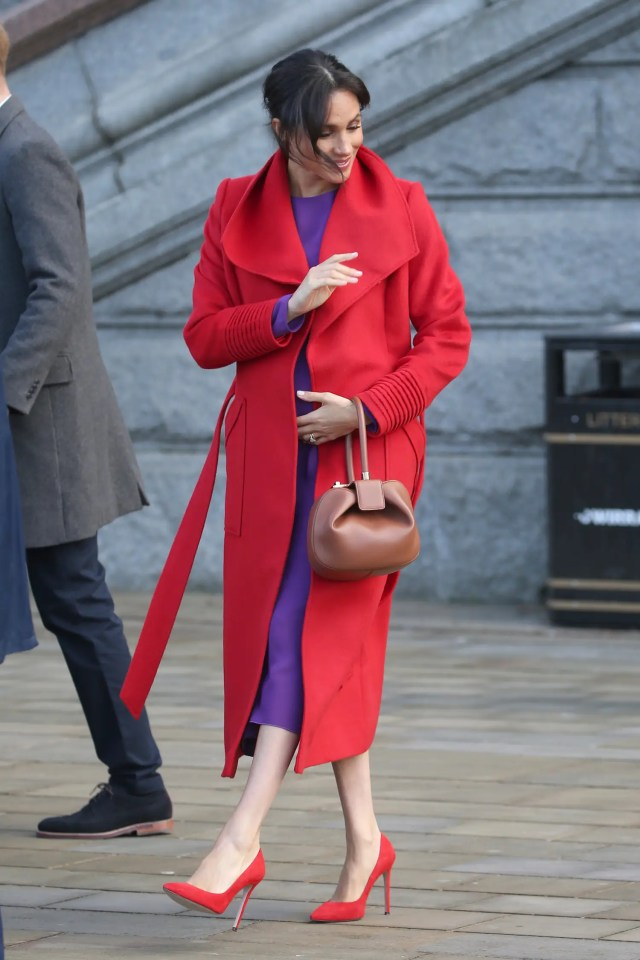 meghan markle red and purple outfit