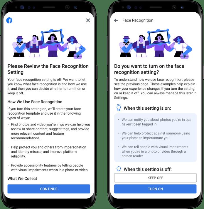 Facebook face recognition change