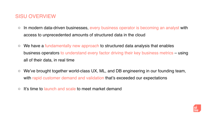 Right here's the pitch deck a Stanford professor used to boost .5 million from prime VCs for his AI startup Sisu, which was named by his mother