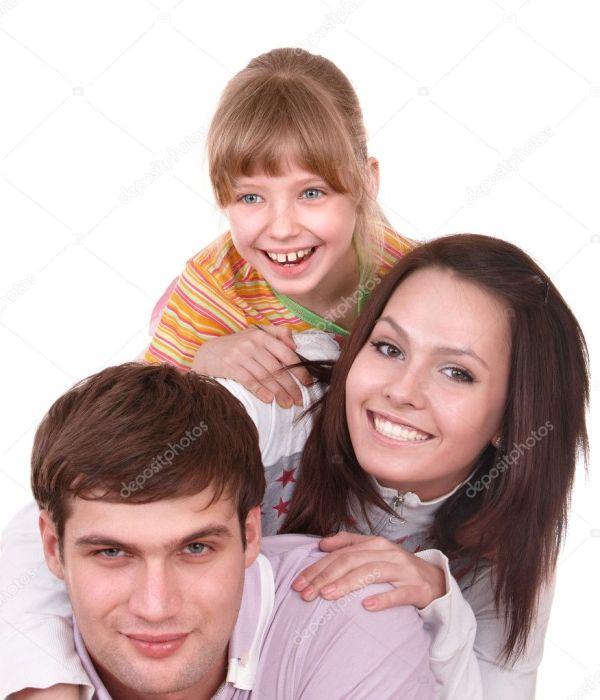 Счастливая семья с ребенком — Стоковое фото © poznyakov ...