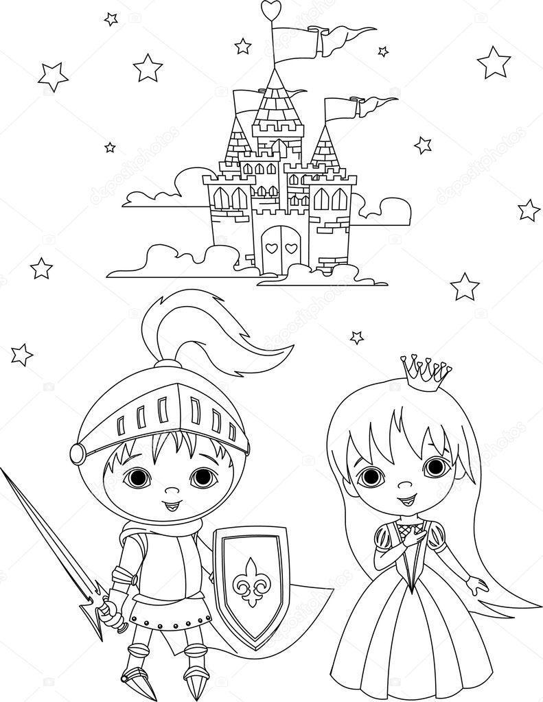 Medieval Knight And Princess Coloring Page Stock Vector