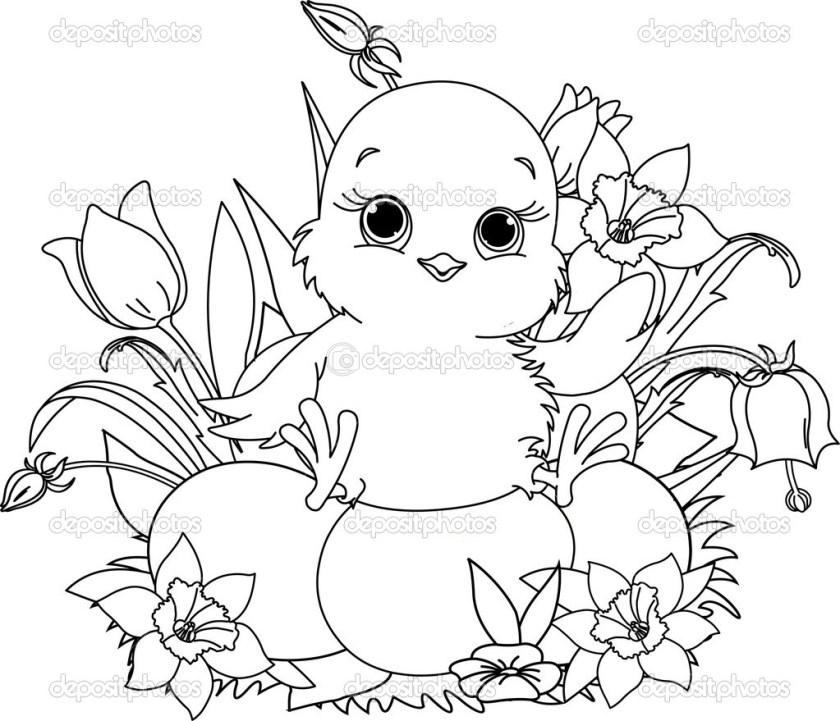 happy easter chick. coloring page — stock vector