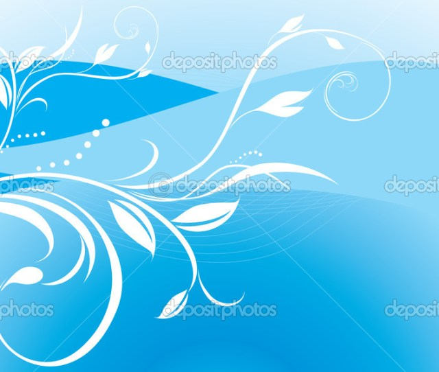 Background Gambar Biru Floral Ornament On The Blue Background