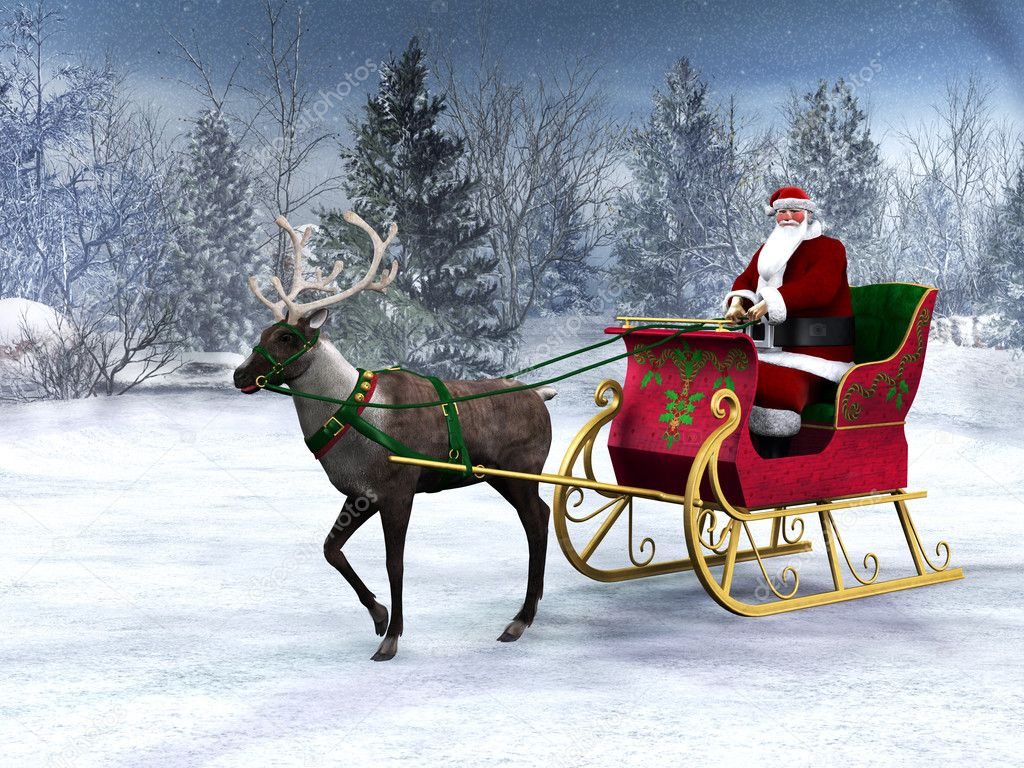 Reindeer Pulling A Sleigh With Santa Claus
