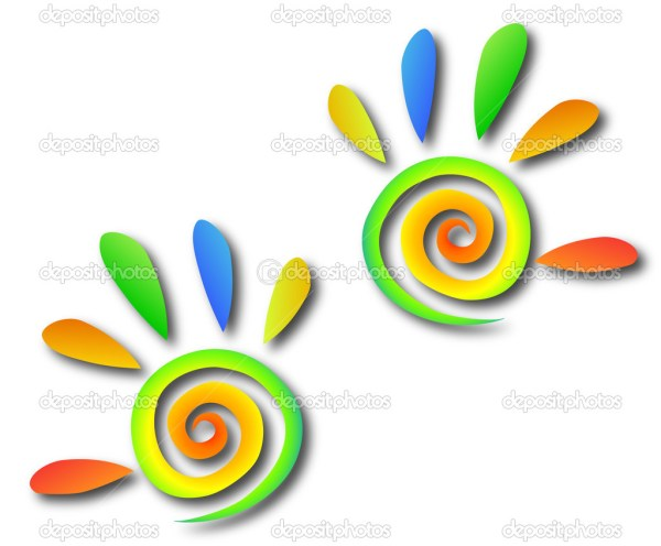 Colored spiral hands with fingers. Vector — Stock Vector ...