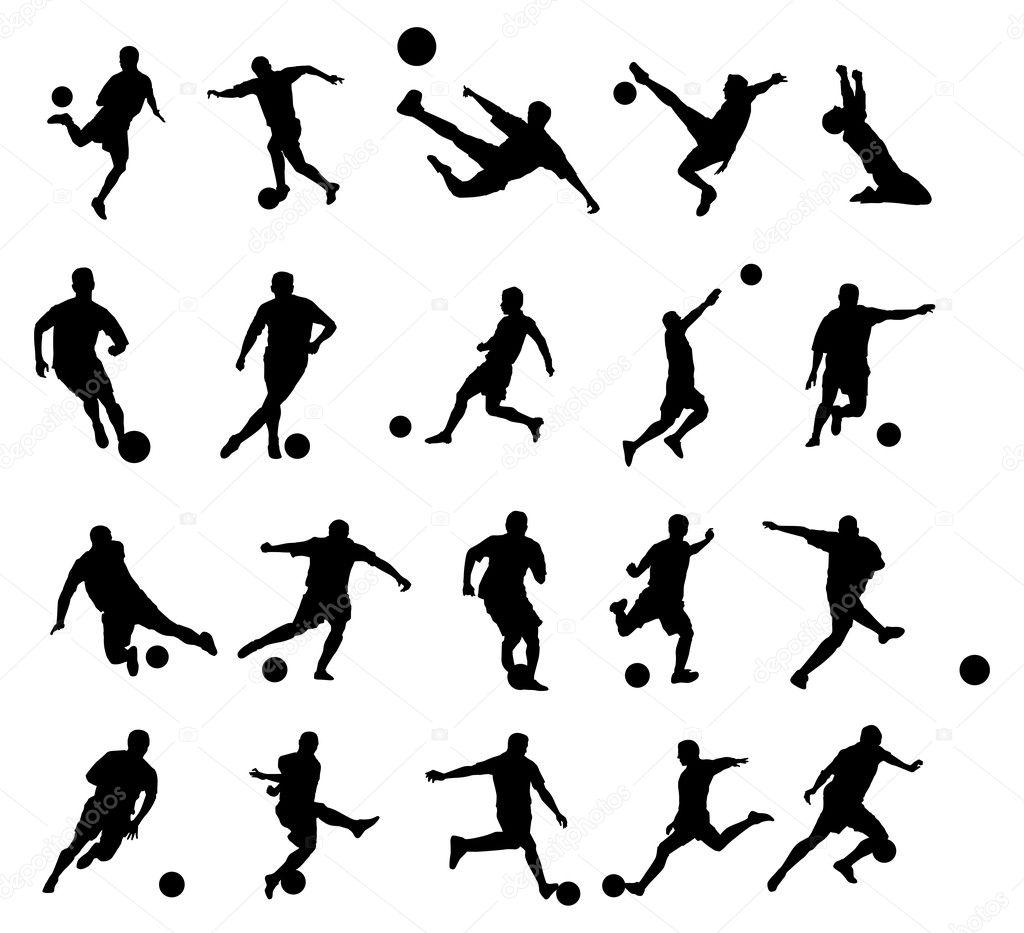 20 Voetbal Poses Silhouet