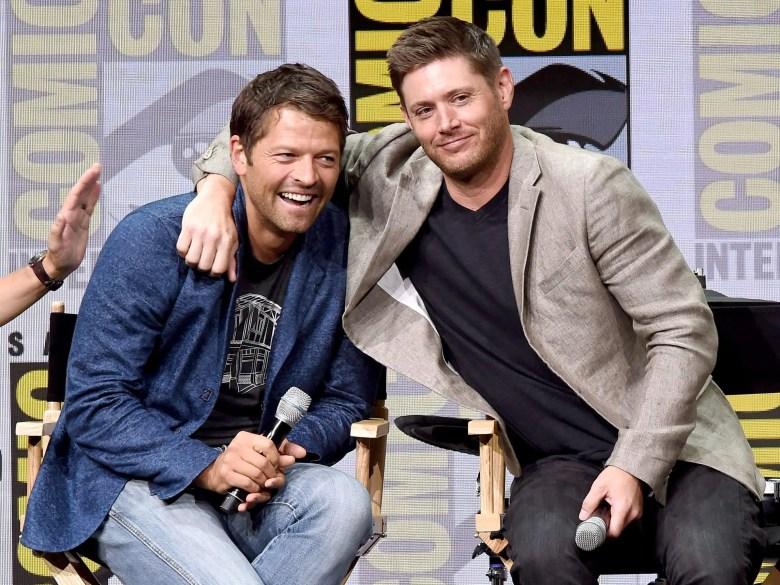 Actors Misha Collins (L) and Jensen Ackles at the