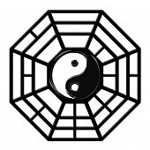 pic of tai-chi  - Chinese Ba Gua Eight Sided Trigrams OCtagon Yin Yang Symbol Isolated on White Background - JPG