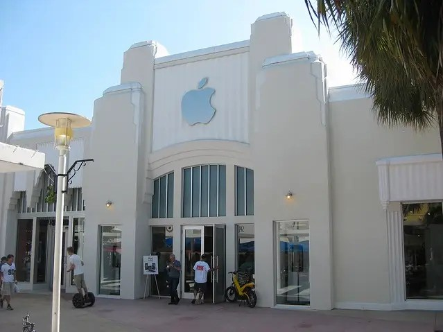 Apple's stores can reflect their surroundings, like this store in Miami.