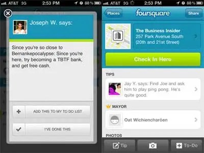 Foursquare's tips make it a really useful application