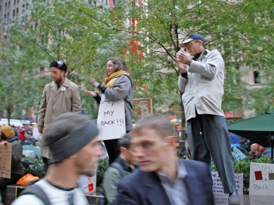 When we got to the park, Occupy protesters burst into applause.