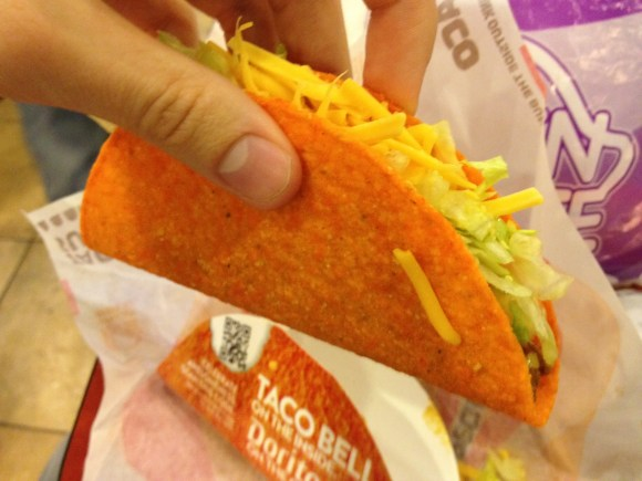 You can incorporate a Dorito shell into your Cheesy Gordita Crunch at Taco Bell.