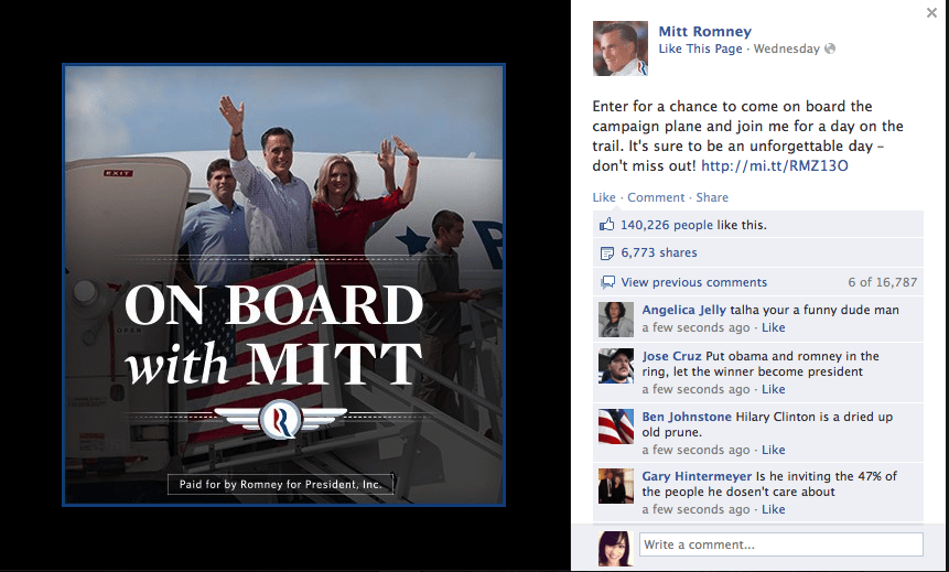 Romney's also running a social media contest. In this case, the winner  gets to spend a whole day on the campaign jet with Romney.