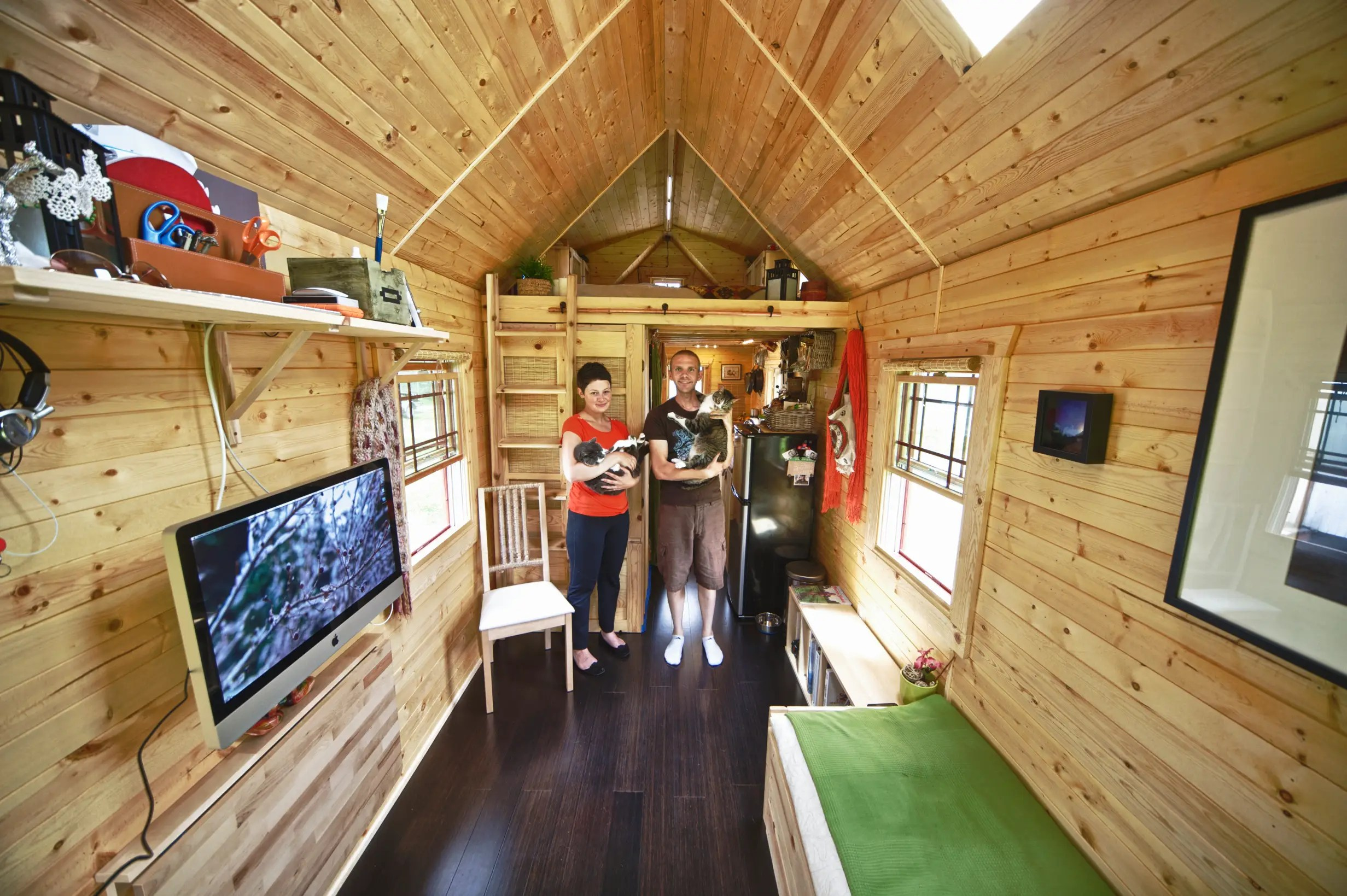 "Chris and Malissa Tack gave up their high-tech lives in 2011 and condensed their world into a ""tiny house"" in the town of Snohomish, Washington. Their new home is only 140-square-feet."
