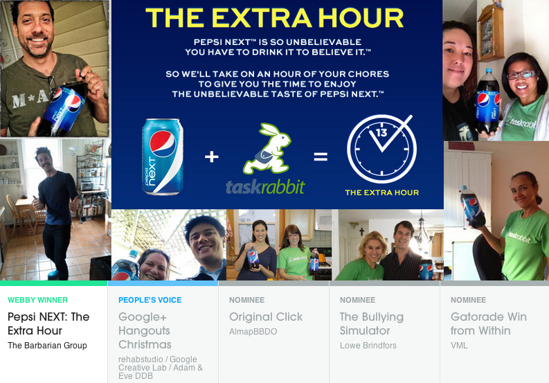 The Barbarian Group won a Webby for its Pepsi campaign with TaskRabbit that gave consumers an extra hour in their day.