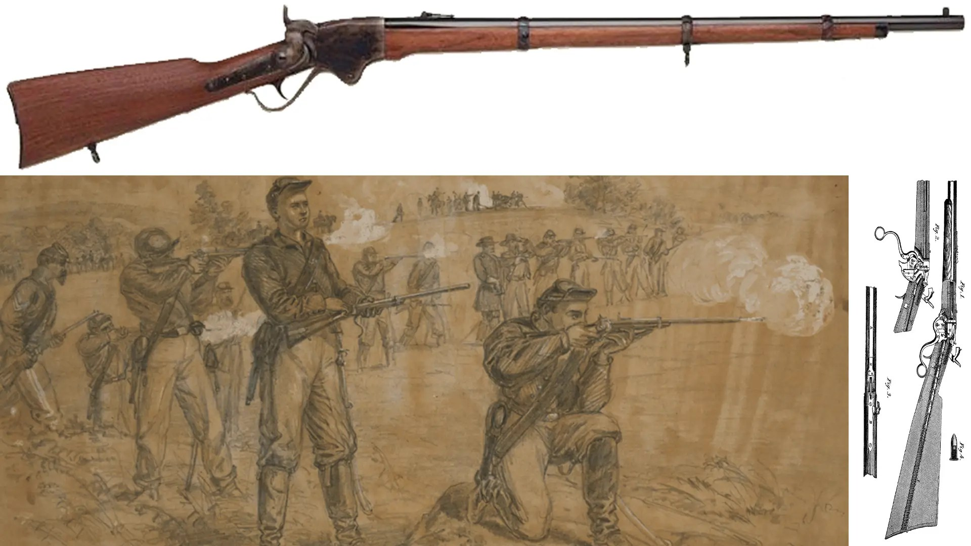 The Spencer Repeating Rifle — while most of the soldiers in the Civil War went to battle with muskets, this rifle enabled Union troops to fire as many as 20 rounds per minute.