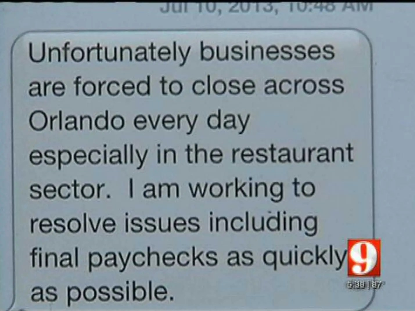 restaurant fired by text message