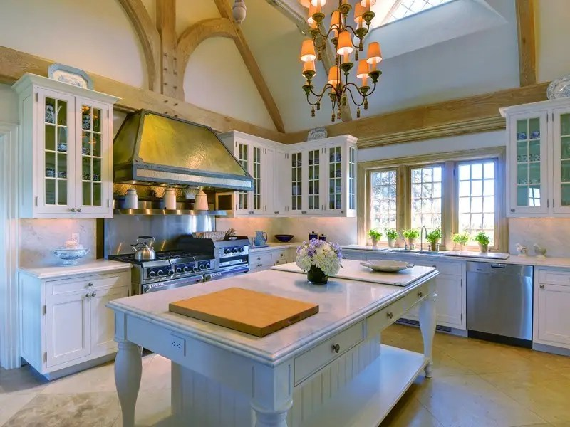There's also a true chef's kitchen with island, chandelier, and sky light.