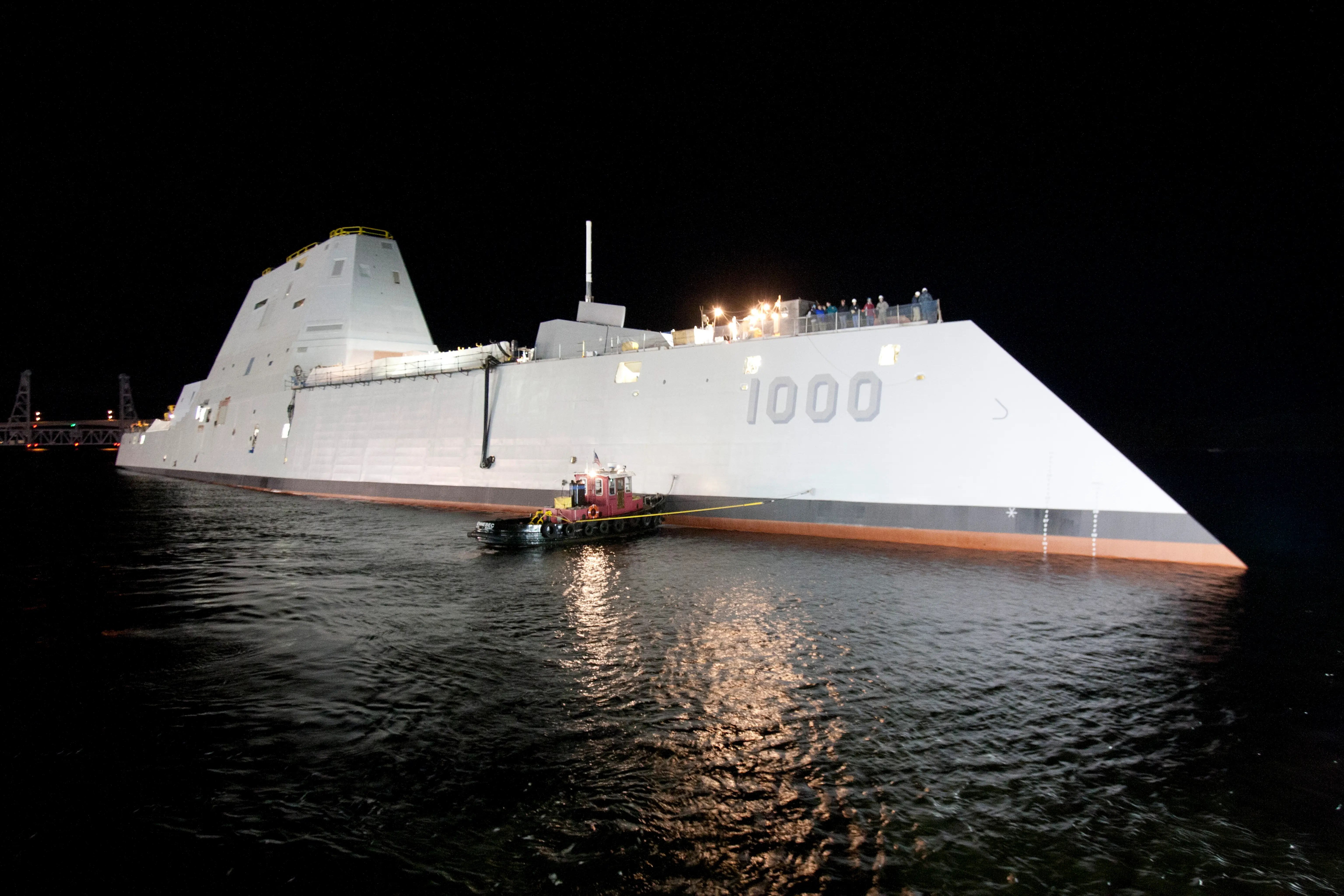 """With the """"tumblehome"""" hull reducing drag and radar detection, along with such advanced weapons, it's like the Zumwalt is the Navy SEAL of ships — always operating under cover of night, a ninja of the sea."""