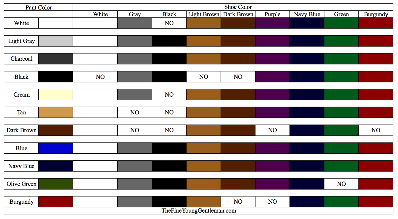 shoe pant chart